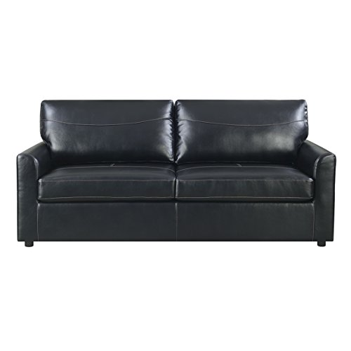 Emerald Home Slumber Black Sleeper Sofa with Faux Leather Upholstery And Gel Foam Mattress (Leather Sleeper Sofas)
