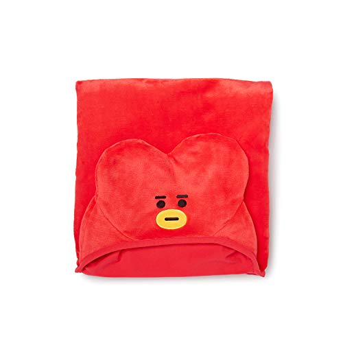 LINE FRIENDS BT21 Official Merchandise TATA Character Hooded Throw Blanket for Indoor/Outdoor, Red