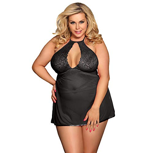 (POQOQ Women Sexy Plus Size Garter Babydoll Chemise Blind Fold Intimate Lingerie(Black,M))