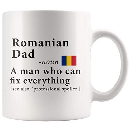 Romanian Dad Definition Romania Flag Fathers Day - 11oz White Mug family reunion gifts Gift Idea ()