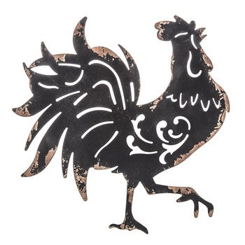 (Black Rooster Metal Wall Decor Kitchen / Home Decor)