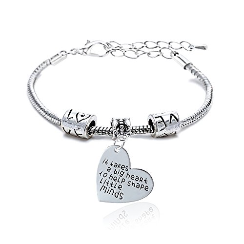 Teacher Gift It takes a big heart to help shape little minds Bracelet for Women Men Christmas Bangle