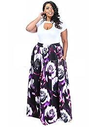 Plus Size Floral Print Scuba Maxi Skirt with Pockets