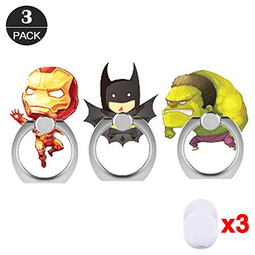 ZOEAST(TM) 3 Pack Phone Ring Grip The Avengers Super Hero Universal 360° Adjustable Holder Car Desk Hook Stand Stent Mount Kickstand Compatible with iPhone X Plus Samsung iPad Tablet (3pcs -