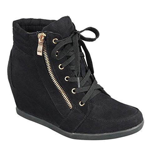 (Women High Top Wedge Heel Sneakers Platform Lace Up Tennis Shoes Ankle Bootie, Black-1, 8 B(M) US)