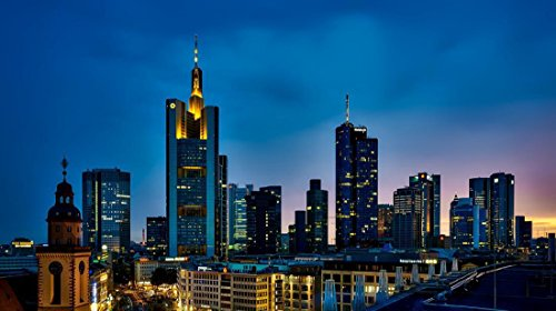 - Quality Prints - Laminated 30x17 Vibrant Durable Photo Poster - Frankfurt Germany Panorama City Urban Skyline Cityscape Downtown Modern Buildings Skyscrapers Architecture Sky Clouds Sunset Dusk