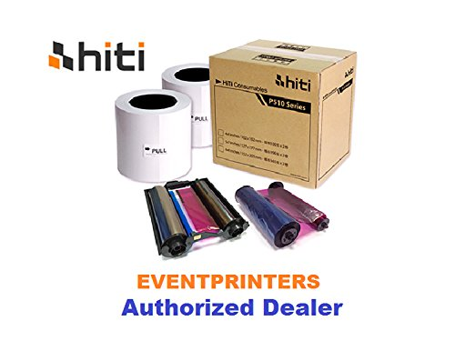 HITI P510 4X6 MEDIA KIT - PAPER & RIBBON - 660 PRINTS PER BOX. With FREE SAMPLES of our best selling photo folders (Eventprinters brand). by Hiti and Eventprinters