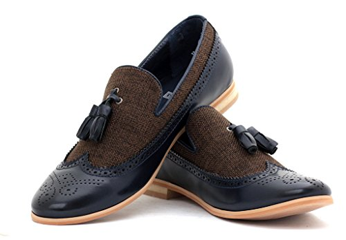 Hombre Inteligentes Vestido De La Manera Sin Cierres Mocasines Con Borlas Casual Oficina zapatos número GB Azul marino/café