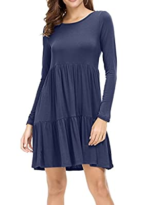 levaca Women Long Sleeve Ruffle Loose Swing Casual T Shirt Dress