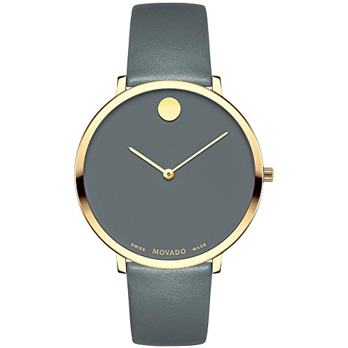 Movado Women's Museum 70th Anniversary 35mm Grey Leather Band Gold Plated Case Swiss Quartz Watch 0607140