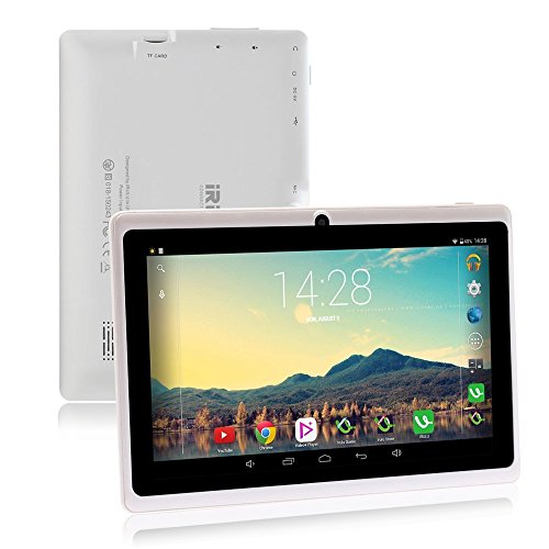 iRULU 7 inch Tablet Google Android 6.0 Quad Core 1024x600 Dual Camera Wi-Fi Bluetooth,1GB/8GB,Play Store Netfilix Skype 3D Game Supported GMS Certified with One Year Warranty (White)
