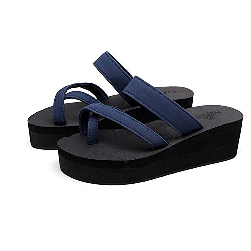 HAIZHEN Frauenschuhe Thick Pantoffeln Weibliche Sommerbekleidung High-Heels Sandalen Fashion Piste mit Pantoffeln Flat Anti-Rutsch-Sandalen Sandalen mit 3 Größen Für Frauen Blau