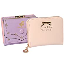 kilofly Women Faux Leather Press Button Lock Purse + Zipper Coin Purse Holder