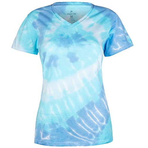 Magic River Ladies V Neck Tie Dye T Shirts - Wildflower Spiral - Women's Small ()
