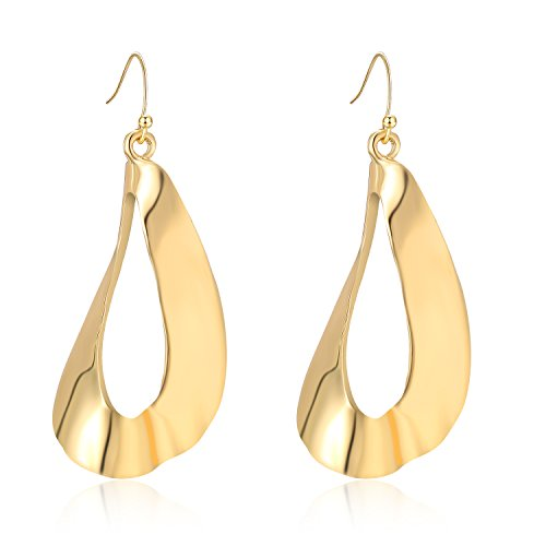 LILIE&WHITE Designer Twisted Curved Dangle Earrings Drop Hanging Jewelry With Fish hook For Women Gold - Designer Gold Jewelry
