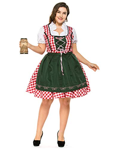 Hamour Womens German Oktoberfest Costume Plus Size Beer Maid Dirndl Dress, Red, L -