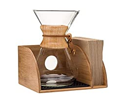 Chemex Coffee Maker Organizer with Silicone Mat | Eco-friendly, Durable & Water Resistant Bamboo | Designed for Baratza Encore Burr Grinders, Chemex Coffee Makers & Chemex Filters