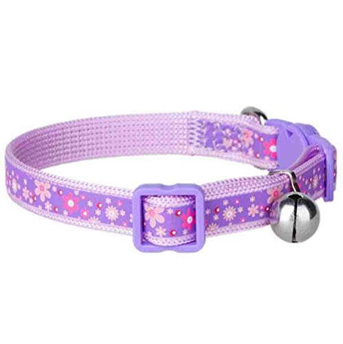 herohua Pet Regular Collars, Purple Polka Print Personalized Collar,Small Size 6″-11″ Adjustable Nylon Basic Collar with Bell for Dogs Puppy Cats
