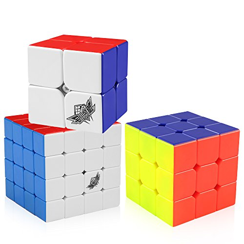 D-FantiX Cyclone Boys 2x2 3x3 4x4 Speed Cube Set, Stickerless Magic Cube Puzzles Toy Pack of 3