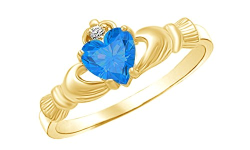 Heart Shaped Simulated Blue Topaz & Cubic Zirconia Claddagh Ring in 14k Yellow Gold Over Sterling Silver Ring Size - 7.5