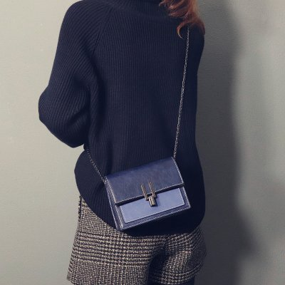 ZHANGJIA Mini Bolso Mini ins Bolsa Chic Mujer Cadena,Brown blue