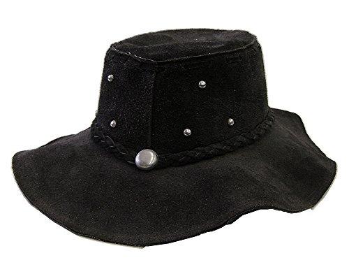 Modestone Unisex Floppy Suede Metal Studs Braided Hatband Hippie Hat Black