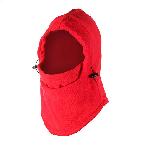 - Diamondo Fleece Hat Hooded Warmer Face Mask Windproof Masked Cap for Winter (Red)