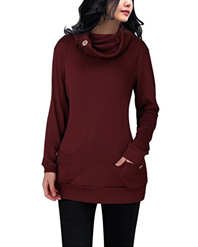 LANISEN Women's Casual Cowl Neck Long Sleeve Tunic Hoodie Sweatshirt With Buttons Wine Red L -