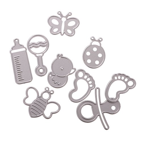 Baby Shower Die Cut - MagiDeal Set of 9 Baby Shower Cutting Dies Stencils for DIY Scrapbooking Album Paper Card