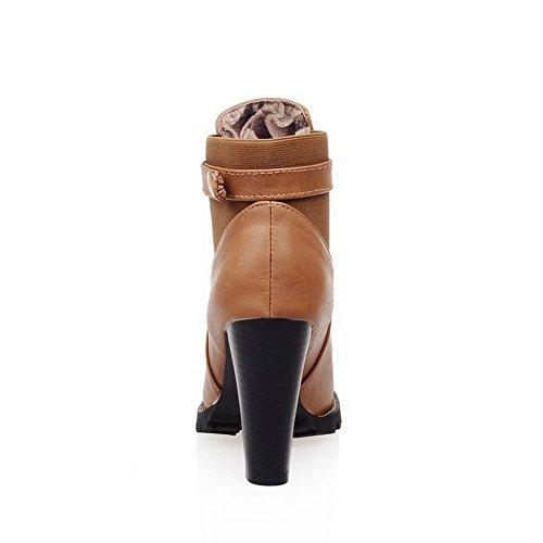 AllhqFashion Damen Hoher Absatz Blend-Materialien Niedrig-Spitze Rein Stiefel Gelb