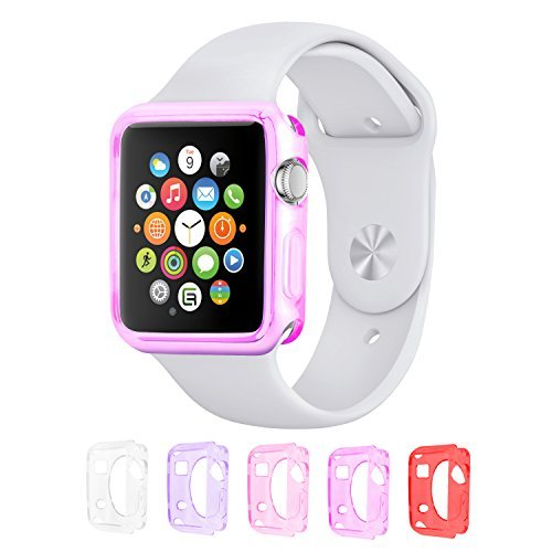 - Eco-Fused Replacement TPU Case Value Bundle Compatible with 38mm Apple Watch/Watch Sport/Watch Edition/Including 5 Flexible TPU Cover Cases for All Apple Watch Versions