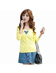 Elegant Women Free Size Daily Solid Color Sweater Outwear Short Blouse Cardigan