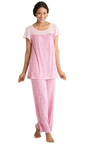 PajamaGram Women's Downton Abbey Lady Rose Pajama Set, Rose, SML (4-6) (Abbey Short)