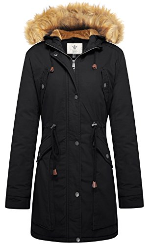 - WenVen Women's Winter Hood Jacket Faux Fur Lined Drawstring Parkas(Black,S)