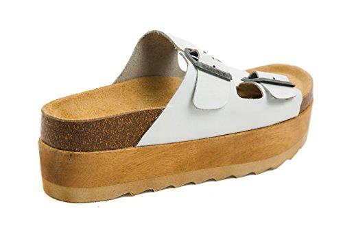 Jeffrey Campbell Damen Plateau Sandalen Pantoletten Holz Clogs Gr. 37 Weiß