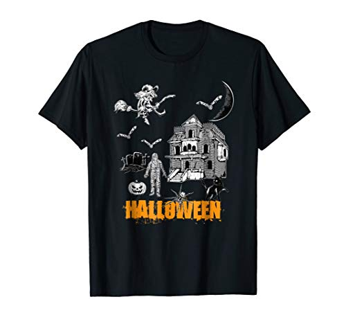 I Love Halloween Tshirt Witch Hunted House Graveyard Mummy