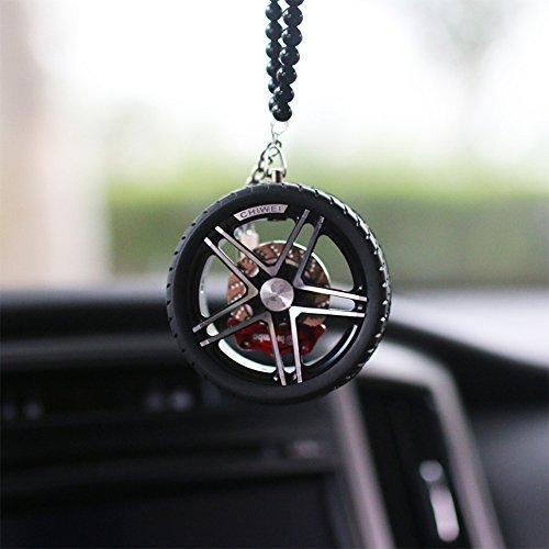 Price comparison product image YGMONER Car Aluminium Alloy Hub Rearview Mirror Pendant (black)