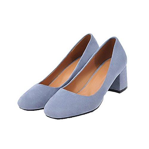AgooLar Femme Tire à Talon Correct Chaussures Légeres Bleu w9Qe9mVhx