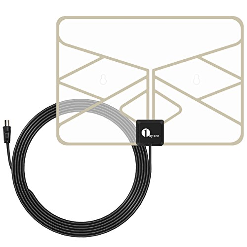 1byone 0.5 mm Paper Thin TV Aerial Amplified Indoor TV Antenna Transparent...