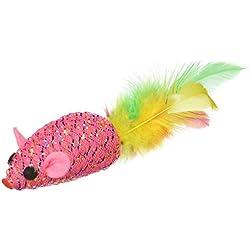 Penn Plax Glitter Mouse W/Feat Catnip Toy