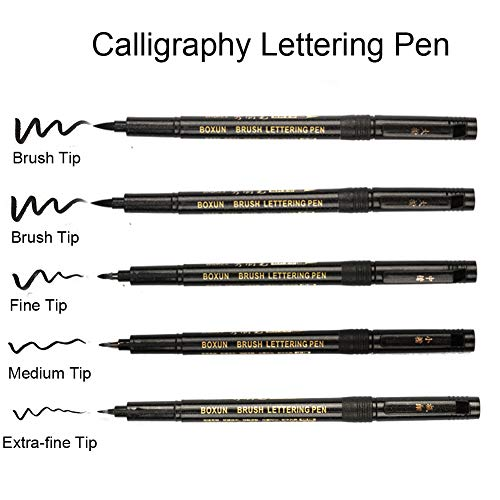 Large Product Image of Calligraphy Brush Pen for Hand Lettering - 4 Size (5/Pack), Refill Black Ink Marker Pen for Beginners Writing, Art Drawings, Illustrations, Bullet Journal