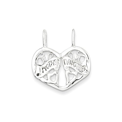 Sterling Silver Mother/Daughter Break Apart Charm (23 x 20mm) (Break Chain Apart)