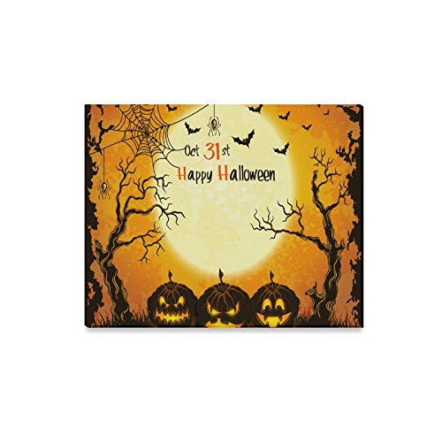 ENEVOTX Wall Art Painting Halloween Pumpkins Full Moon Trees Bat Prints On Canvas The Picture Landscape Pictures Oil for Home Modern Decoration Print Decor for Living Room]()