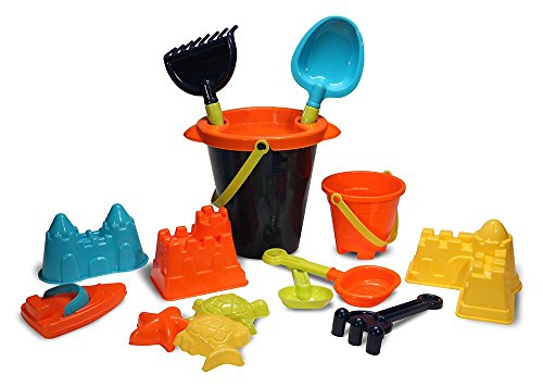 Sandbox Set (Kids Sand Toys Set for Building on Beach or in Sandbox: Buckets, Tools, Molds, Toy Boat- 15 pc.)