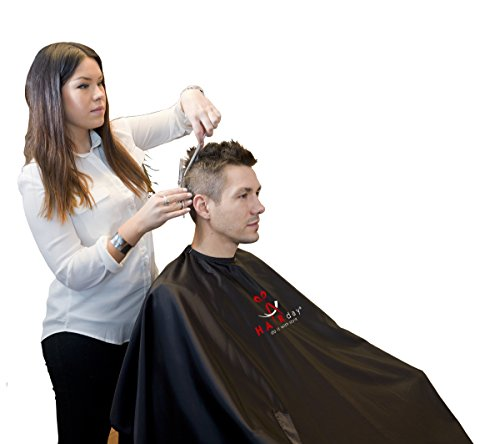 Hair Salon Cape for Hair Cutting, Waterproof Barber Cape by Hairday Care Professionals - Black