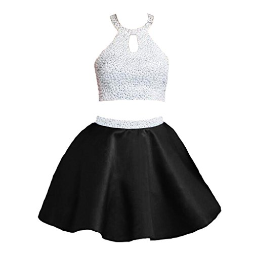 Black And Ivory Halter Dresses (CuteShe Women's Short Ivory and Black Two Pieces Prom Homecoming Dresses Halter)