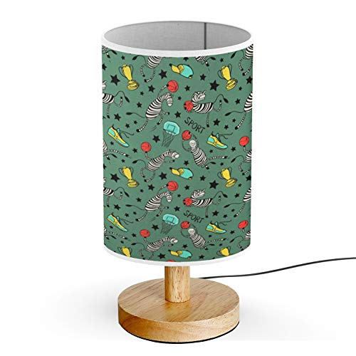 ARTSYLAMP - Wood Base Decoration Desk Table Bedside Light Lamp [ Basketball Game Doodle ]