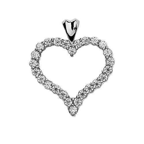 1 Carat Diamond Heart Pendant in 14 White Gold