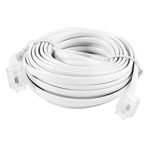 - uxcell RJ11 6P2C Modular Telephone Extension Cable Wire White 6M 20Ft