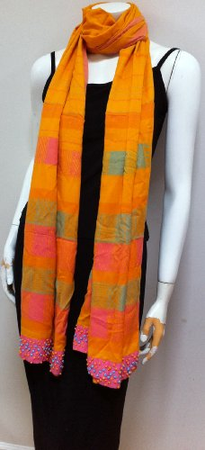 100% Cotton, High Quality Unique Designer Fabric, Hand Woven Orange Scarf Neck Wear Wrap, Beautiful Accessory, Great Gift for Girls Women Ladies, Sofa Throw (Hannah Montana Scarf)